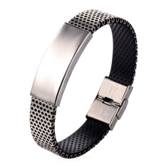 U7 Punk Stainless Steel Bracelet For Men High Quality Silica Gel Fashion Men Jewelry Accessories (White) (Intl)