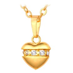 U7 Romantic Crystal Heart Pendant Necklace For Women Fashion Jewelry 18K Real Gold Plated Necklace (Gold) (Intl)