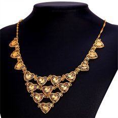 U7 Romantic Gift Hearts Choker Necklace 18K Real Gold Plated Women Jewelry (Gold) (Intl)