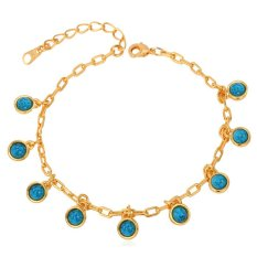 U7 Sexy Turquoise Adjustable Chain Bracelet For Women 18K Real Gold Plated Fashion Jewelry (Gold)