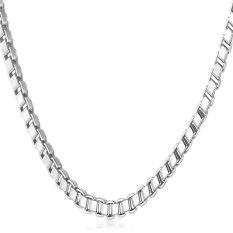 "U7 Simple Gold Box Chain Necklace 22"" Platinum Plated Fashion Women / Men Jewelry Gift (Platinum)"