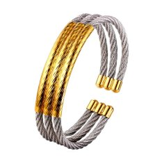 U7 Stainless Steel Cuff Bracelet For Women / Men 18K Real Gold Plated Fashion Jewelry Multi-layer Bracelet (White)
