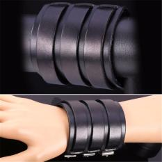 U7 Wide Punk High Quality Soft Genuine Leather Bracelet For Men Fashion Jewelry Perfect Party Gift Men Accessories (Black) - Intl