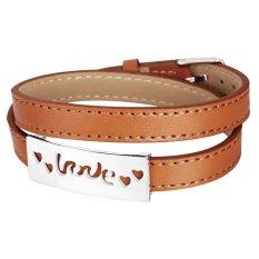 U7 Wrap Love Leather Bracelet Stainless Steel (Brown) (Intl)