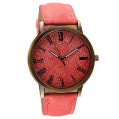 UJS Cowboy Leather Band Analog Quartz Watch Pink