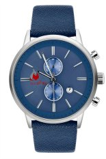 UJS Men Blue PU Leather Band Analog Quartz Wrist Watch (Intl)