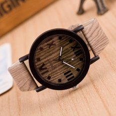UJS Roman Numerals Wood Leather Band Analog Quartz Vogue Wrist Watches