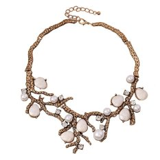 UJS Vintapearl Rhinestone Jewels Branches Alloy Short Necklace Clavicle Clothing Accessories (Intl)