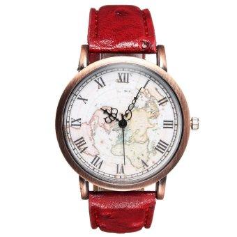 UJS Women Earth Map PU Leather Red Quartz Analog Wrist Watch