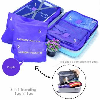 ULTIMATE BIG SIZE Travel Bag Organizer 6 in 1 OR 60-03 / Koper Bag in Bag - PURPLE