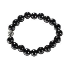 Unisex Buddha Head Natural Magnet Black Agate Prayer Beads Bracelet (Intl)