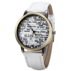 Unisex Quartz Watch Jean Fabric Canvas Band Newspaper Pattern Watch Dial