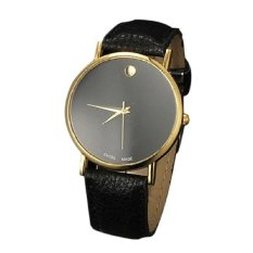 Unisex Women Man Round Dial Watch Round Dot Leather Strap Band Quartz Wristwatch Business Fashion Style Watches Gold&Black (Intl)