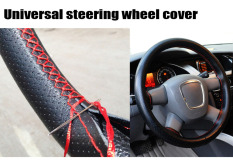 Universal Car Steering-Wheel Cover Hand-stitched 38cm Leather Steering Wheel Cover Funda Volante Housse Volant Voiture - Intl