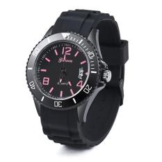 Uxury Geneva Watch Women's Men's Date Silicone Quartz Analog Wrist Watch Hot Pink Free Shipping - Intl