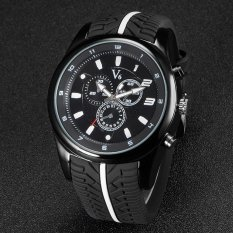 V6 F1 Racing Style Casual Quartz Watch Rubber Band Black - Intl