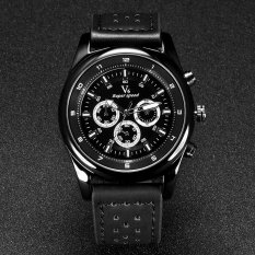 V6 Military Style Casual Quartz Watch PU Leather Band Black