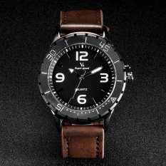 V6 Military Style Casual Quartz Watch PU Leather Band Brown - Intl