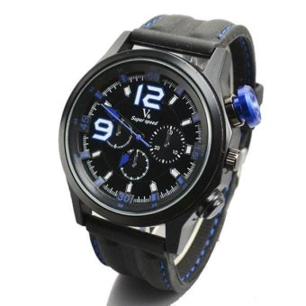 V6 Racing Design 3D Dial Casual Watch Black Case Silicone Band Blue