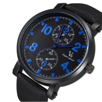 V6 Racing Design Casual Watch Black Silicone Band Blue