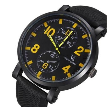 V6 Racing Design Casual Watch Black Silicone Band Yellow