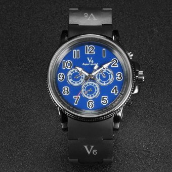 V6 Racing Style Casual Quartz Watch Black Rubber Band Blue