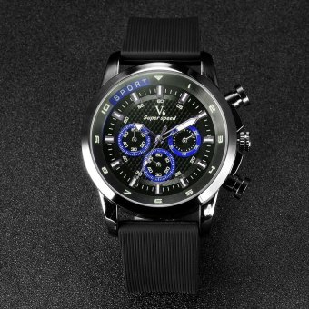 V6 Racing Style Casual Quartz Watch Rubber Band Blue