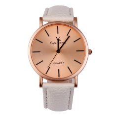 V6 Unisex Quartz Leather Strap Sports Wrist Watch (White) (Intl)