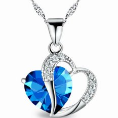 Valentine's Day For Lover Blue Crystal Heart Hollow Clear Rhinestone Heart Charm Pendant Necklace Fashion Jewelry For Women New Year Gift (Intl)