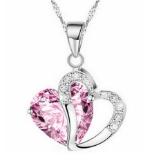 Valentine's Day For Lover Pink Crystal Heart Hollow Clear Rhinestone Heart Charm Pendant Necklace Fashion Jewelry For Women New Year Gift (Intl)