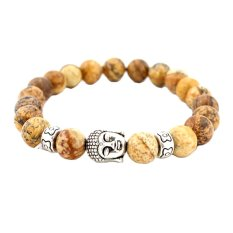 Valentine's Day Silver / Gold Buddha Beads Bracelets For Women And Men Jewelry Natural Stone Bracelets Bangles Pulseras (Intl)