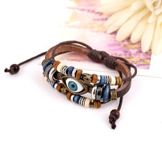 Vanker Hot Classic Vintage Retro Eye Faux Leather Adjustable Bracelet Wristband Jewelry (Brown)