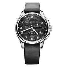 Victorinox Swiss Army Black Dial SS Leather Chrono Quartz Men's Watch 241552 - Intl