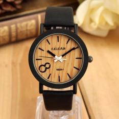 Vintage kuarsa sambungan kayu ancak Hitam jam tangan kulit