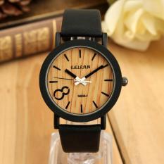 Vintage pria kuarsa sambungan kayu ancak Hitam jam tangan kulit