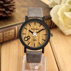 Vintage pria kuarsa sambungan kayu kulit jam tangan kasual
