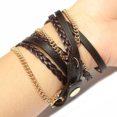 Vintage PU Leahter Weave Strap Women Analog Bracelet Watch (Intl)