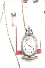 Vintage Punk Bronze Design Pocket Watch Quartz Pendant Necklace Watch (Big Pansies)