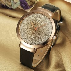 Viser Jam Tangan Wanita Analog Korea Fashion Leather Strap Quartz Lady Wristwatch Casual Watch - BLACK
