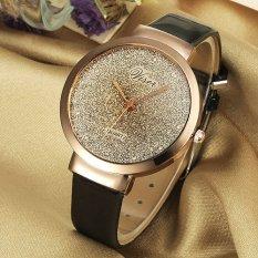 Viser Jam Tangan Wanita Analog Korea Fashion Leather Strap Quartz Lady Wristwatch Casual Watch - BLACK
