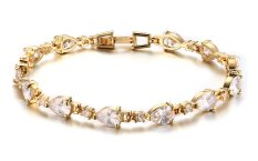 "Vnox Jewelry Gold Plated Womens Fashion White CZ Tennis Bracelet 7"" (Intl)"