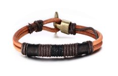Vnox Jewelry Simple Button Braided Rope Leather Bracelet For Men (Brown)