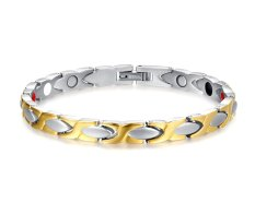 """VNOX JEWELRY Womens """"X"""" Titanium Healthy Magnetic Therapy Bracelet With Free Link Removal Tool, Gold, Silver"""