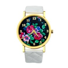 Vogue Women Rose Analog Dial Leather Band Wrist Watch Watches (White) (Intl)