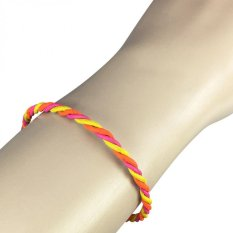 VONA Beads Willow (Pink Kuning) - Gelang Kulit Wanita / Leather Bracelet Jewellery For Women