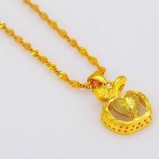 Wanita Fashion perhiasan 24 karat berlapis emas liontin kalung cinta kecil apple liontin - International