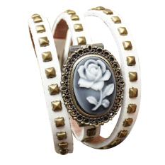 Watch Embossed Flower Retro Leather Handbags Leather Bracelet Watch Ladies Watches