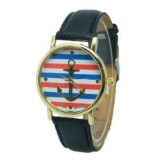 Watch Multicolor Stripes Anchor The New Quartz Leather (Black) - Intl