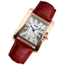 Watch Women SKMEI Brand Luxury Fashion Casual Quartz Watches Leather Sport Lady Relojes Mujer Women Wristwatches Dress Girl 1085 (Red)