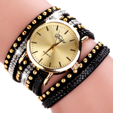 Watches Women Gold Geneva Luxury Crystal Gemstone Wristwatches Fashion Casual Women Bracelet Quartz Vintage Watch - Intl